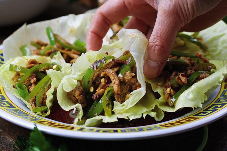 Paleo Chinese Spicy Pepper Pork Lettuce Wraps | Whole30 | Keto