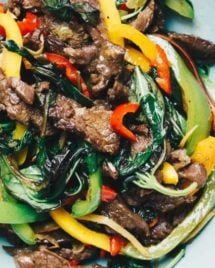 Paleo Thai Basil Beef Stir-Fry recipe Whole30 and Keto friendly.