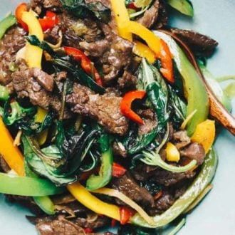 Paleo Thai Basil Beef Stir-Fry recipe Whole30 and Keto friendly.