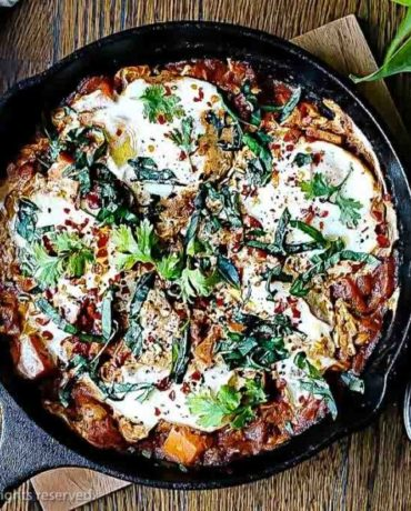 Paleo Shakshuka Eggs recipe with Sweet Potatoes in Tomato Sauce