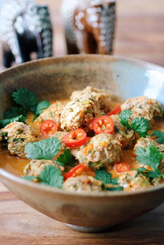 Paleo Whole30 Coconut Curry Meatball Soup