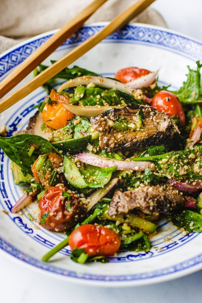 Grilled Thai style beef salad with Thai chili sauce dressing made paleo, gluten-free, low carb, and Whole30 from I Heart Umami.