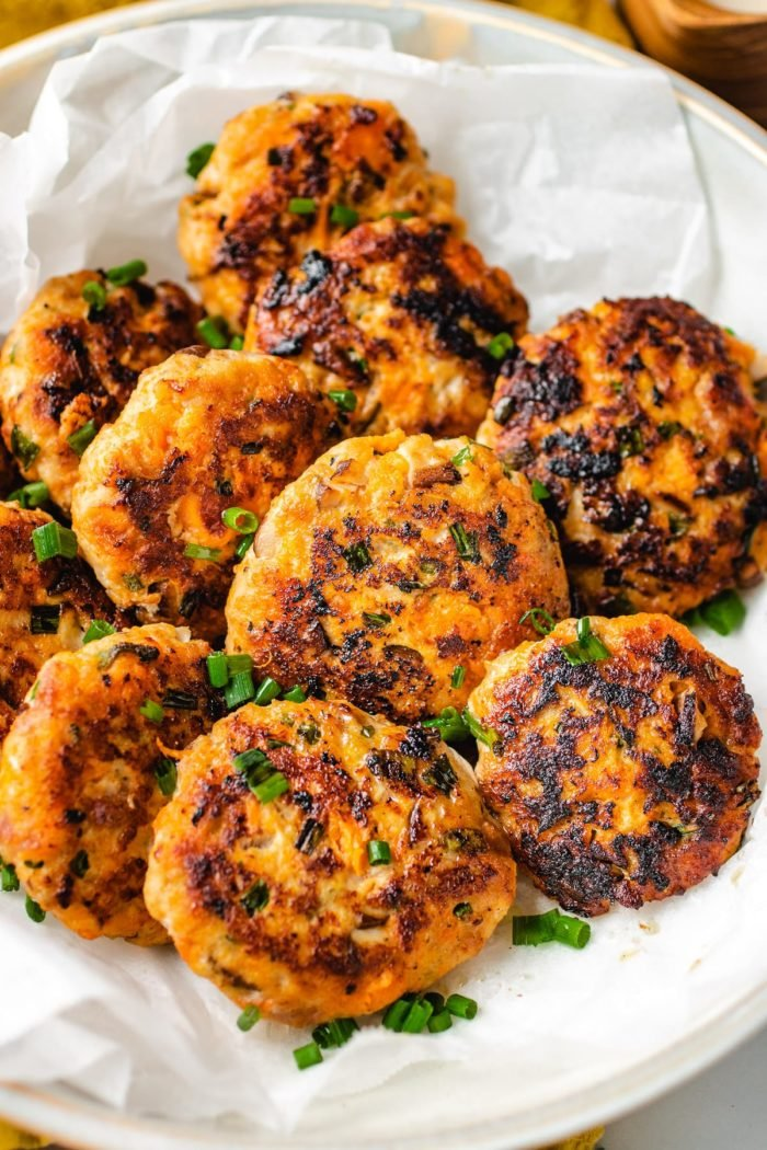 Sausage patties after pan fried to golden brown
