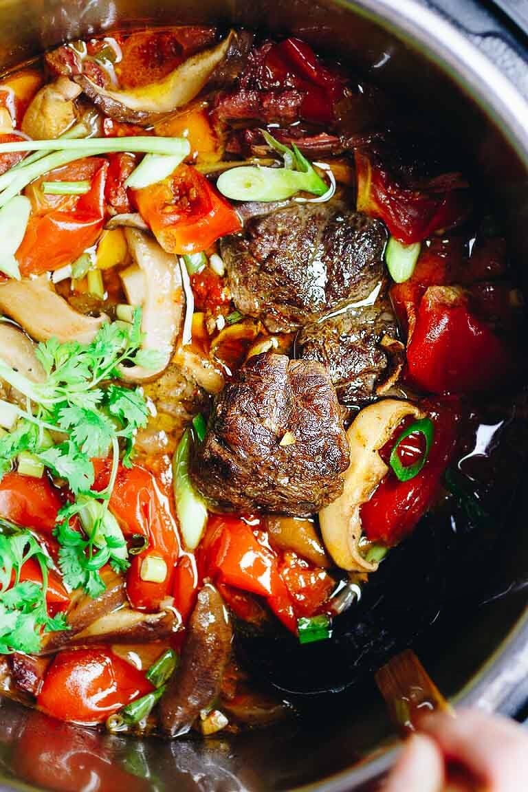 Instant Pot Taiwanese Beef Stew recipe with beef shank is Paleo, Whole30, and Keto friendly.