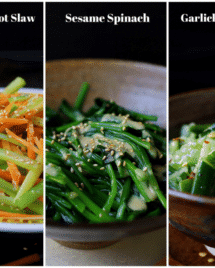 Paleo Asian Side Dishes. Simple and quick Paleo vegetable side dishes. Garlicky cucumbers, sesame spinach, celery carrot slaw. Paleo Asian food. Paleo Chinese food. IHeartUmami.com