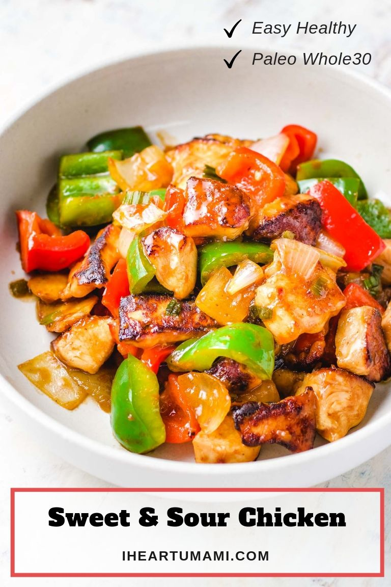 Chinese sweet and sour chicken dish served in a big white plate.