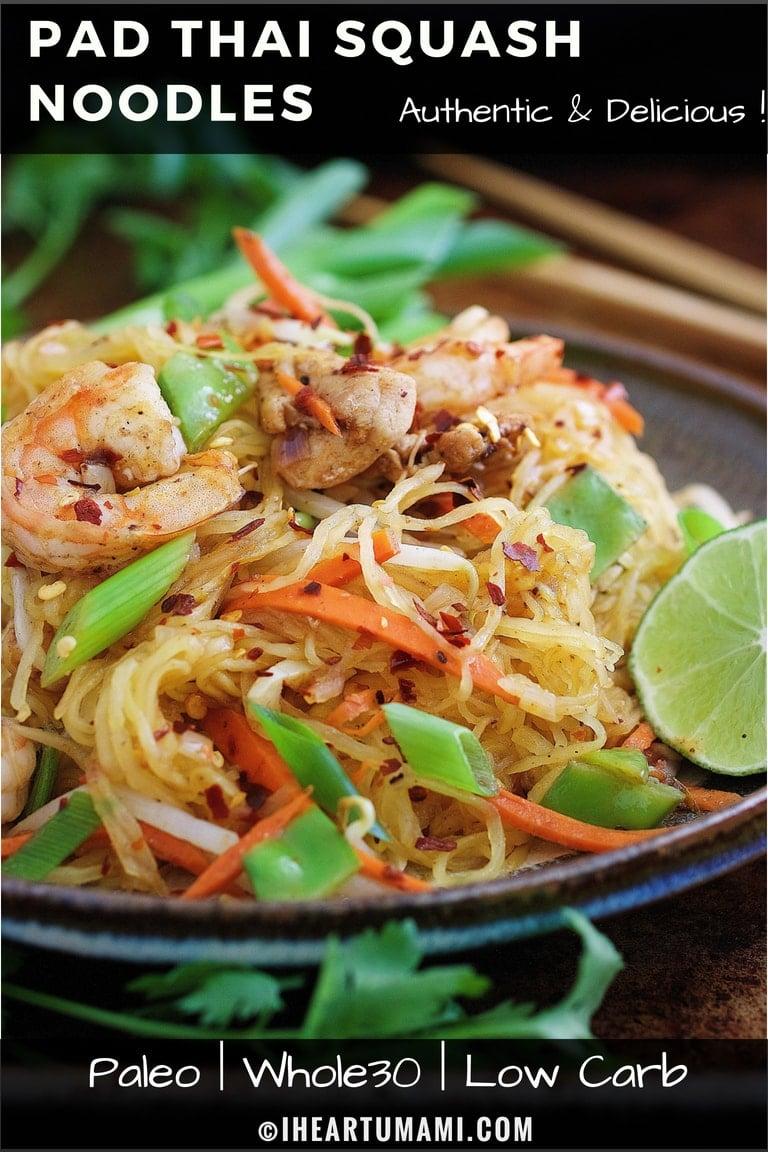 Paleo Pad Thai Noodle Omelette Whole30 Pad Thai Noodles with spaghetti squash noodles