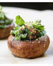 "Easy and ""cheesy"" Herb Stuffed Mushrooms that are gluten, dairy free and vegan friendly. Perfect make ahead appetizer and side dish recipe."