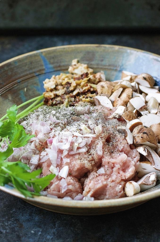 Mini Turkey Meatloaf recipe stuffing ingredients