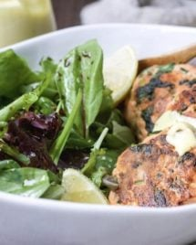 Paleo Salmon Cakes Recipe without egg, dairy, mayo, and anchovies.