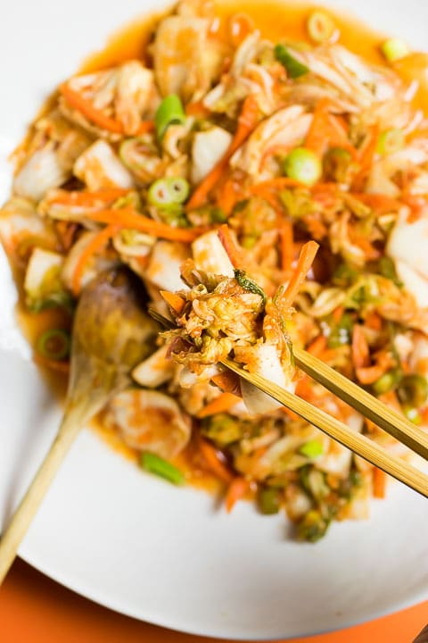 Paleo Easy Kimchi Recipe that are gluten-free Whole30 with AIP and Vegan kimchi options.