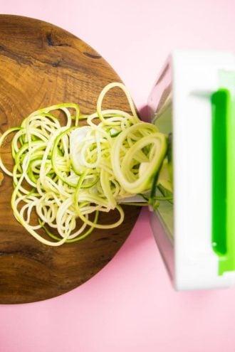 Zucchini Pasta Shrimp with Avocado Pesto Sauce Recipe.