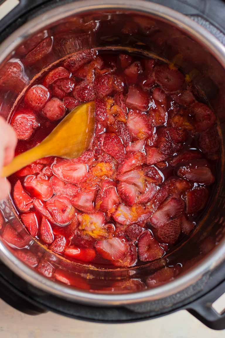 Paleo Instant Pot Easy Strawberry Compote Recipe with no sugar added.