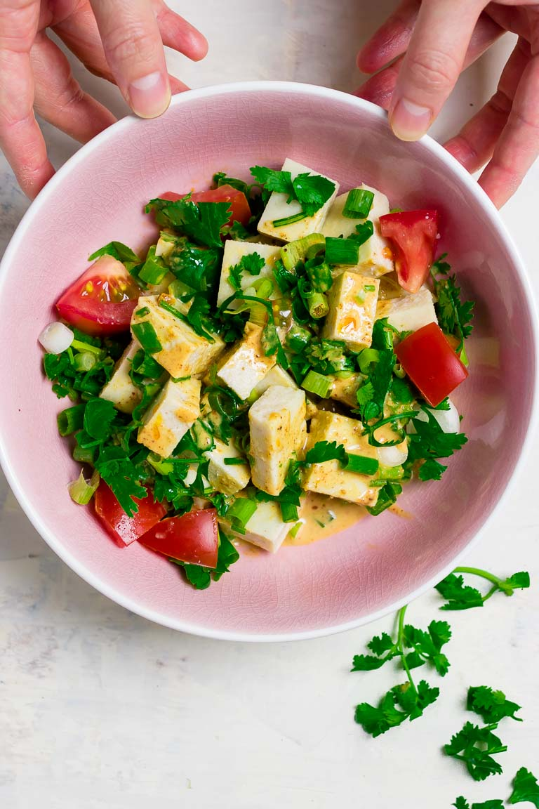 Easy Paleo Cold Tofu Substitute recipe is soy free and Keto friendly with cashew flour, inspired by Japanese Goma tofu.