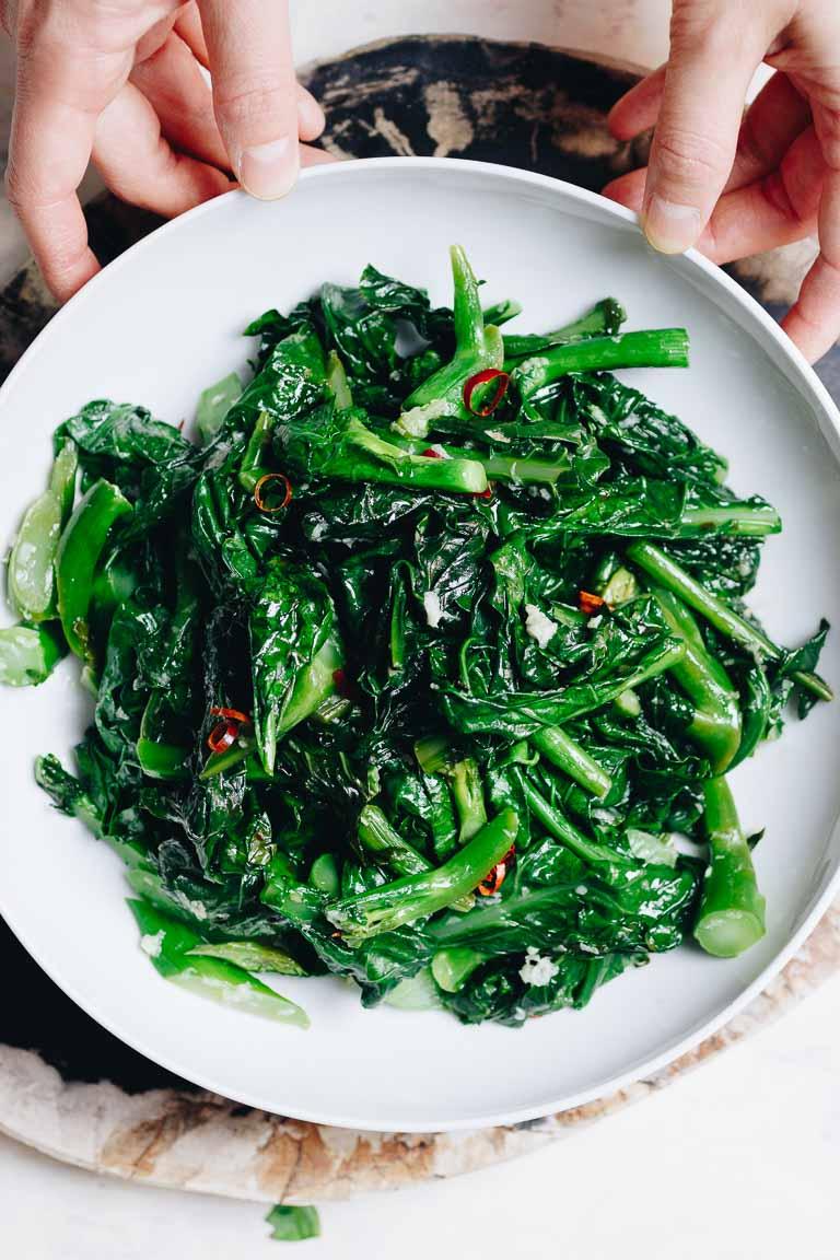 Kai Lan stir fry with garlic sauce is a Vegan, Paleo, Whole30, Keto, and low carb recipe.