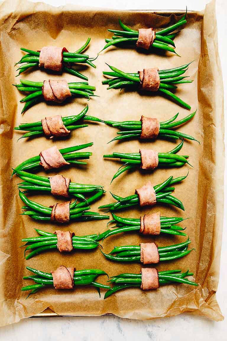Paleo Bacon Wrapped Green Bean Bundles Thanksgiving Recipes for Paleo Whole30 Keto.