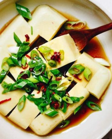 Paleo Keto Egg Custard Tofu recipe is a savory Chinese egg custard dish made without soy. It's low carb, keto, and Paleo friendly.