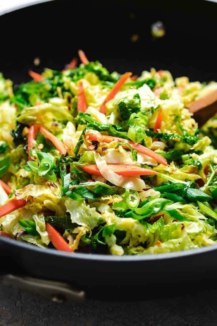 Paleo Chinese Cabbage Stir-Fry recipe with shredded cabbage in a Chinese-inspired stir-fry sauce.