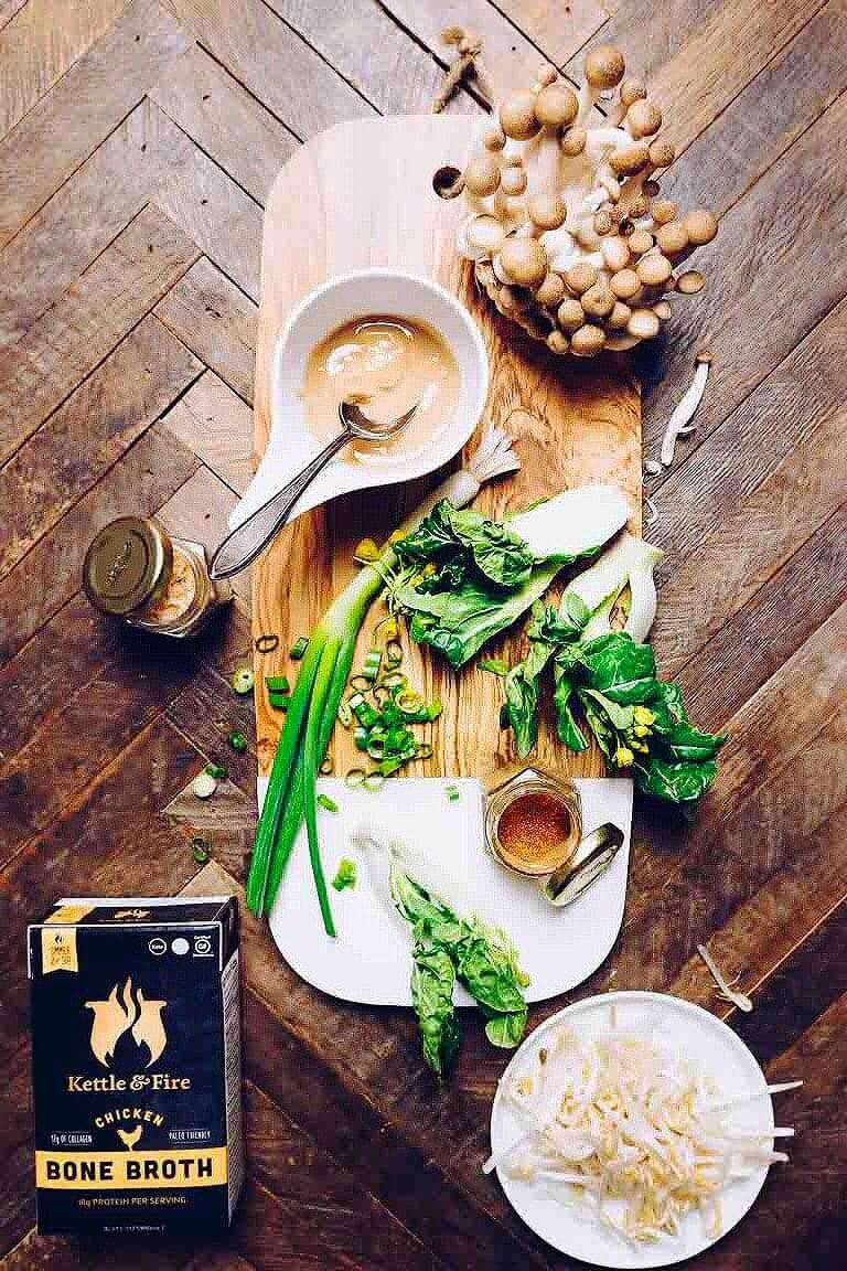 Whole30 Tantanmen Ramen recipe with creamy rich bone broth and juicy caramelized chicken.