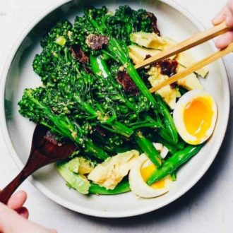 Healthy and easy Paleo Broccolini Salad with creamy ginger mustard dressing is Paleo, Whole30, and Keto low carb from I Heart Umami.