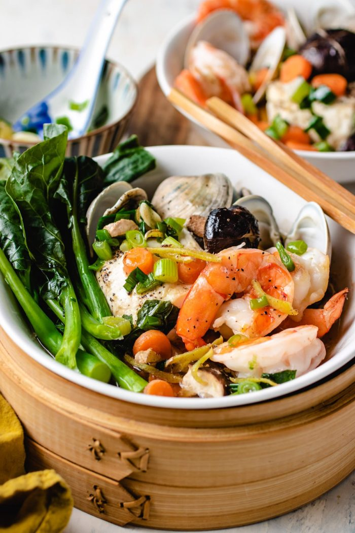 Steamed seafood served in two serving bowls