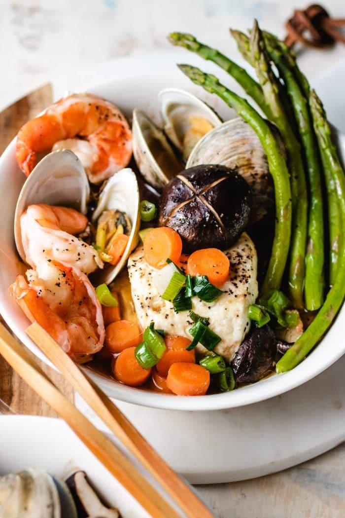 Pair the dim sum recipe with asparagus to steam