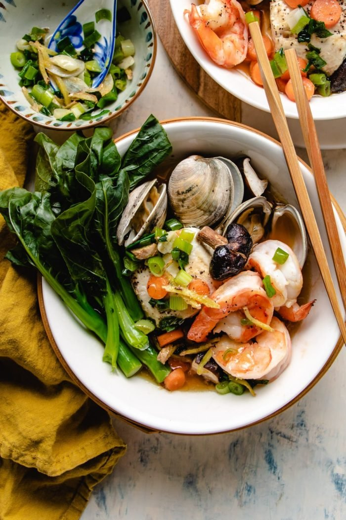 Serve the dim sum seafood with the dipping sauce on the side