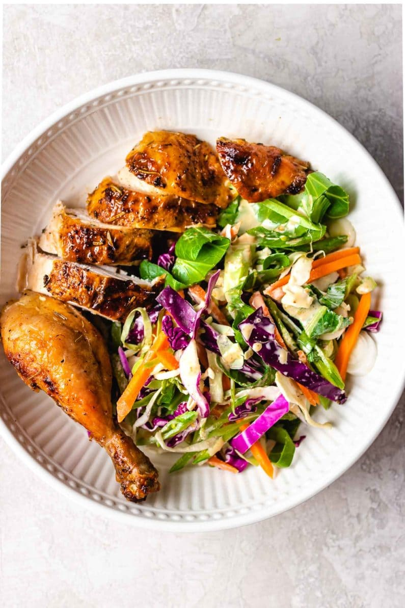 Or serve the air fried chicken with Asian Coleslaw in a bowl