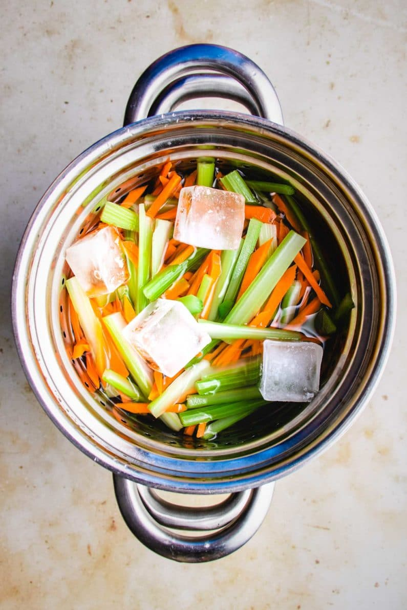 Chilled celery and carrot slaw for salad