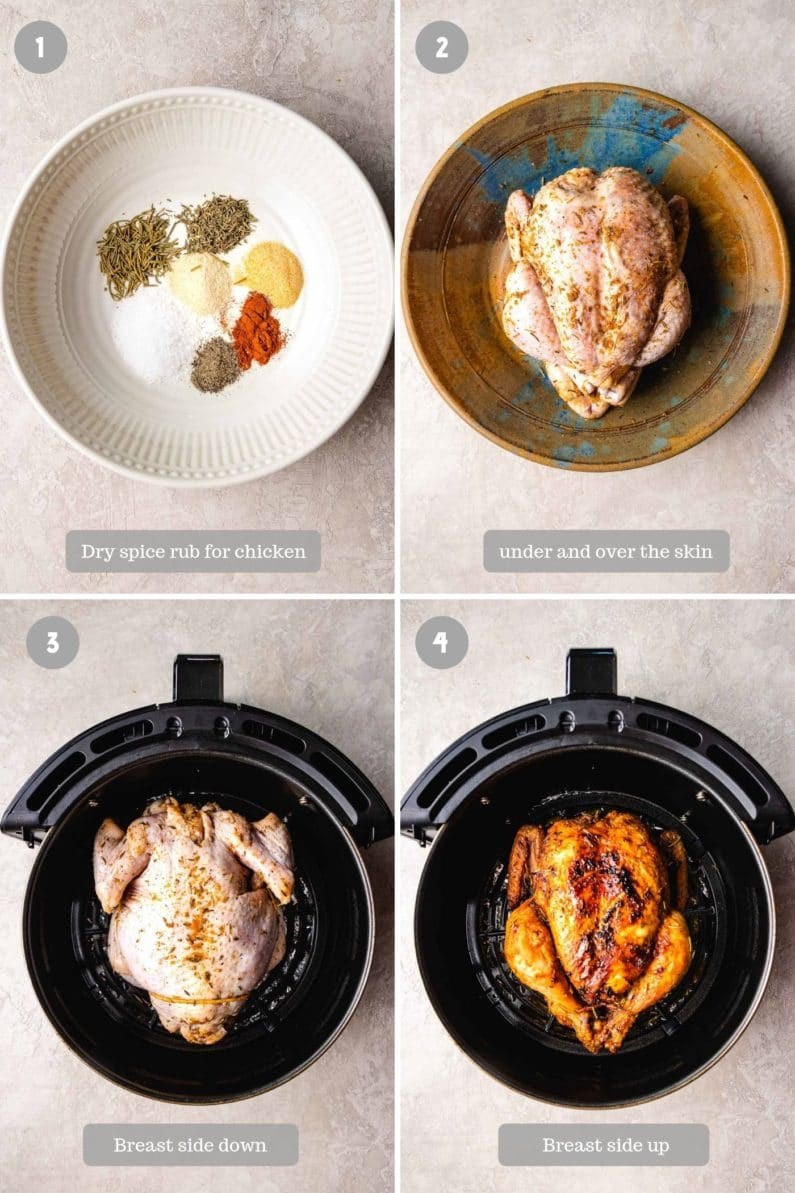 Steps showing how to air fried an entire chicken using a fryer