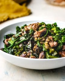 Paleo beef stir-fry in oyster sauce with yu choy vegetable is gluten-free, keto, and Whole30.