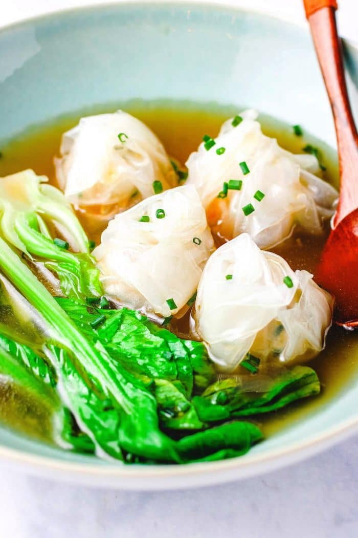 Easy wonton soup recipe with gluten-free rice wonton wrappers.