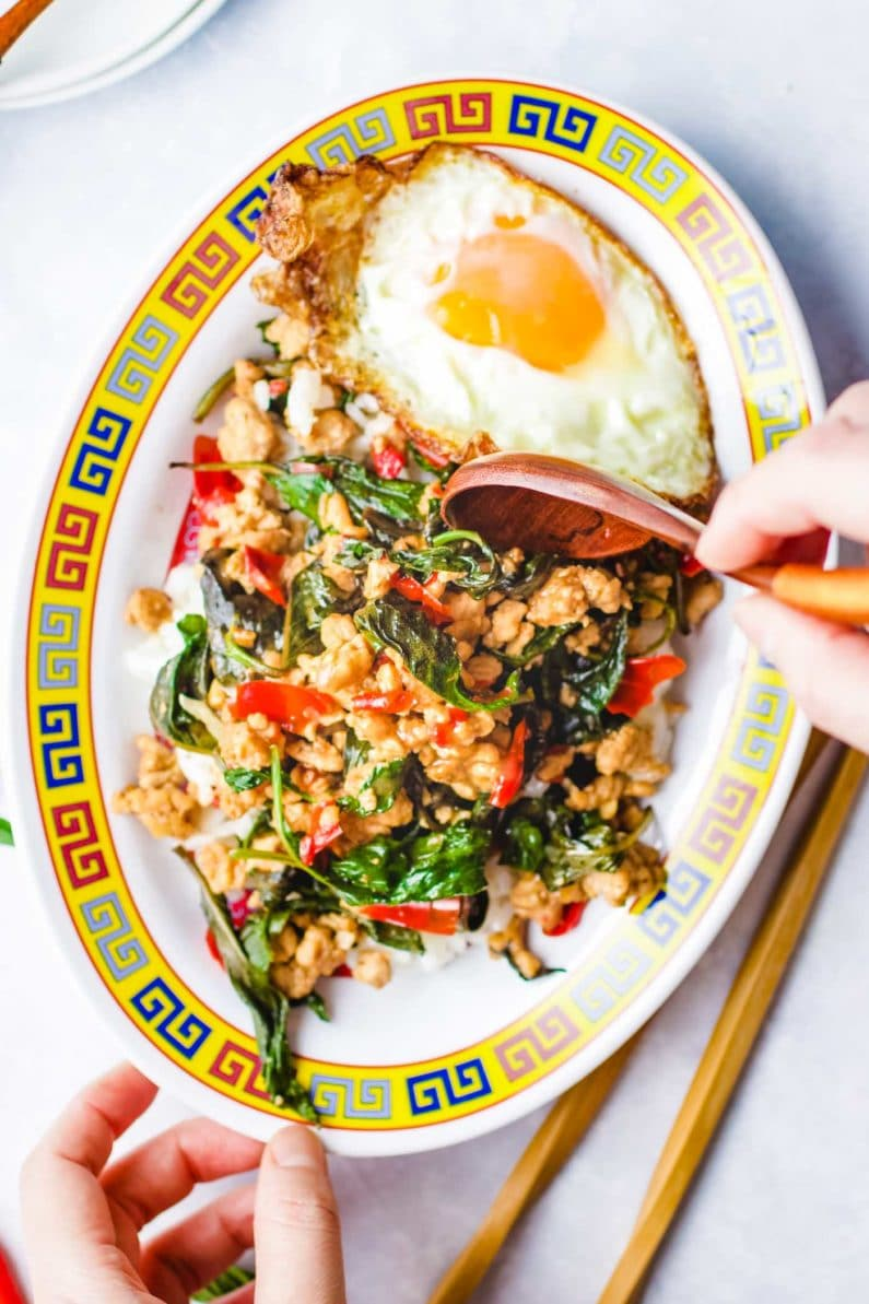 Thai basil ground chicken recipe Paleo Whole30