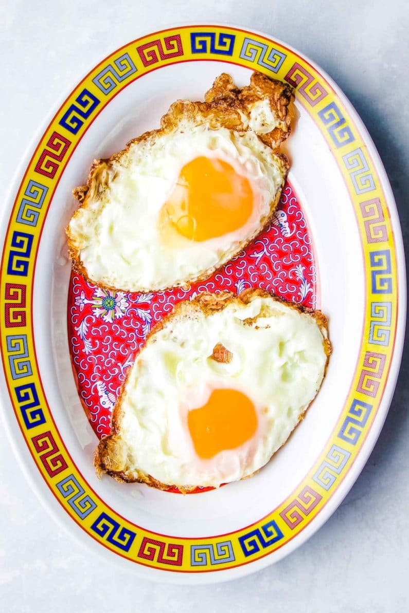 Thai fried eggs for spicy basil chicken