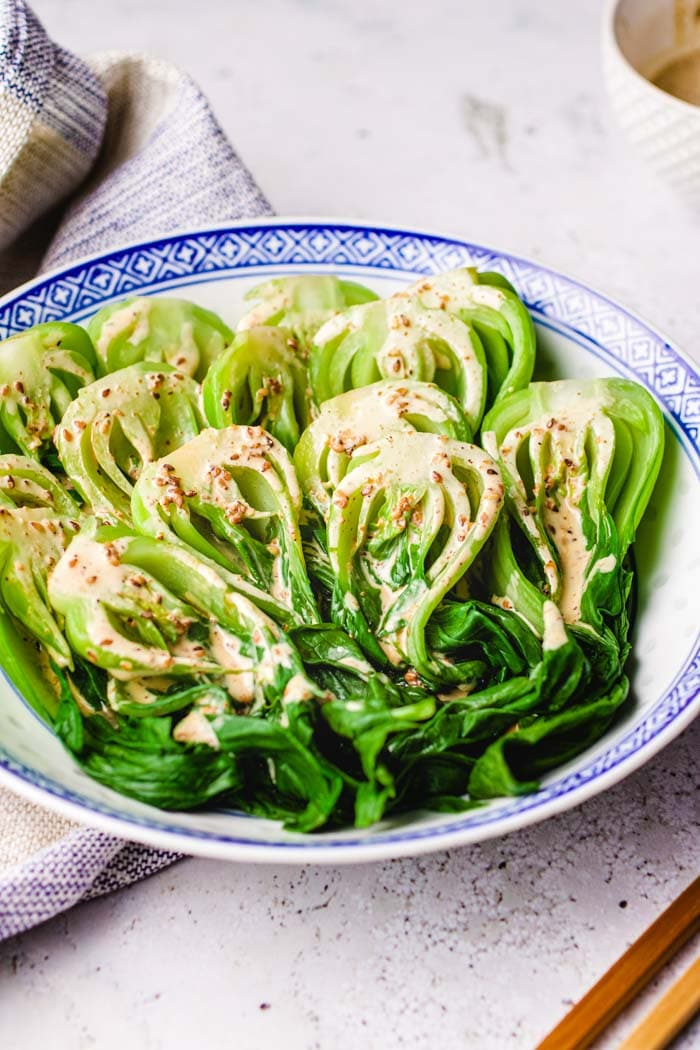 Bok choy salad recipe (pak choi) with creamy toasted sesame dressing from I Heart Umami.