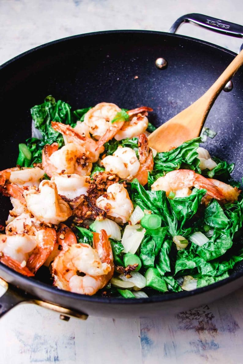 Thai shrimp stir fry with Chinese broccoli for fried rice