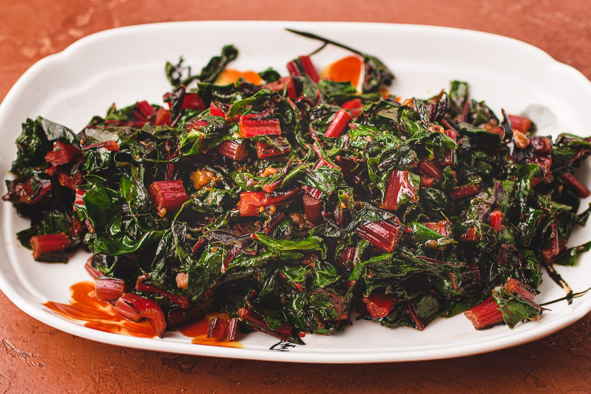 Chard recipe with miso paste and butter I Heart Umami