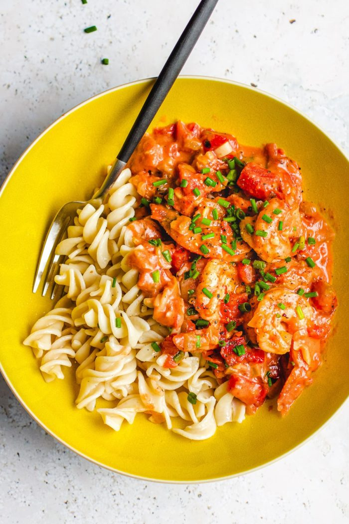 Shrimp in Tomato Cream Sauce recipe with homemade dairy-free and gluten-free pink sauce from I Heart Umami.