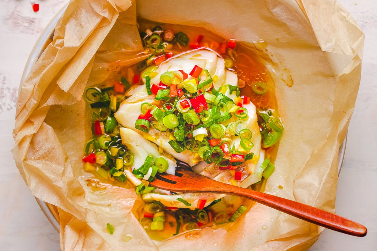 Chinese Steamed Cod Fish Recipe Ginger Scallion Sauce I Heart Umami