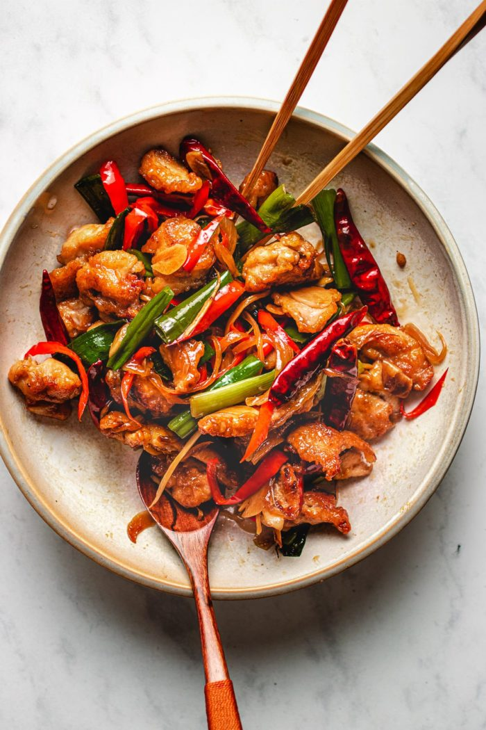 Mongolian style stir-fry with crispy chicken recipe I Heart Umami
