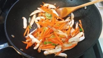 Add carrots and shiitake