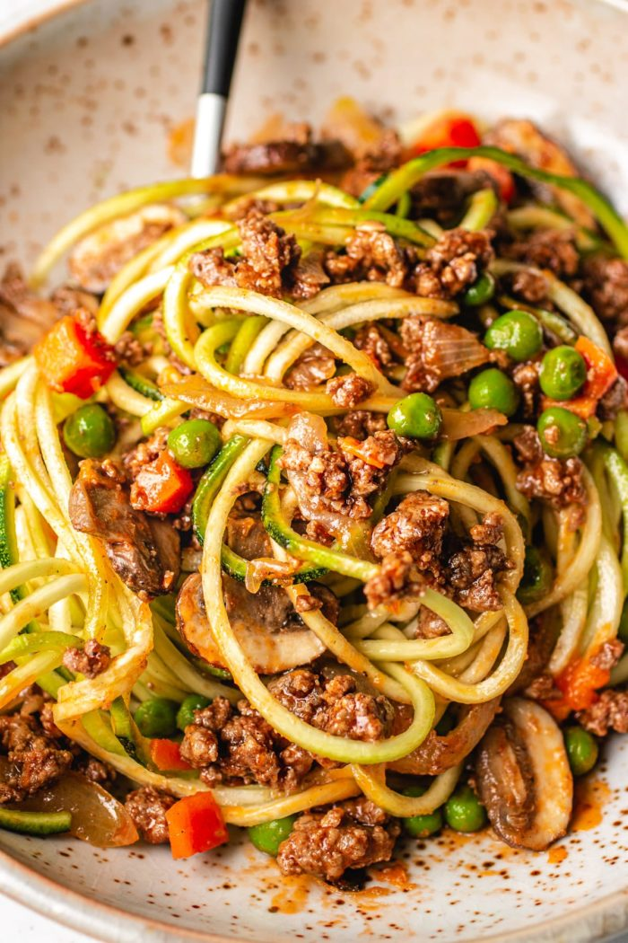Easy keto ground beef recipe noodle bowl is Paleo and Whole30 friendly I Heart Umami.