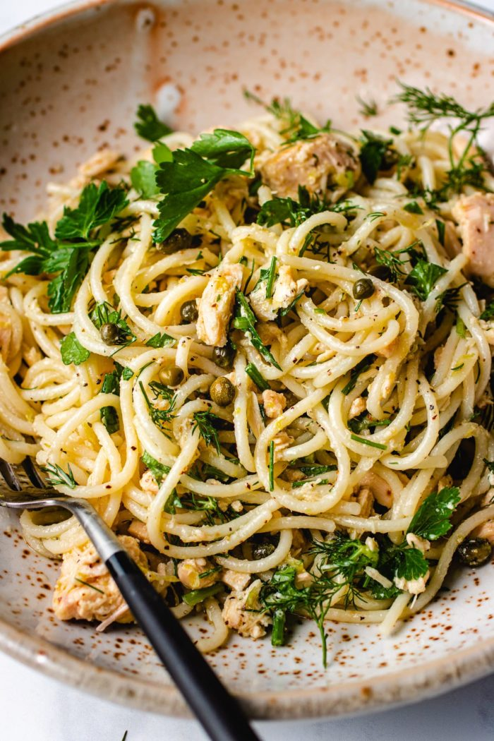 Lemony canned tuna spaghetti pasta recipe is simple and refreshing from I Heart Umami.