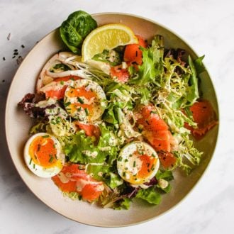 Keto smoked salmon salad recipe with soft-boiled eggs from I Heart Umami.