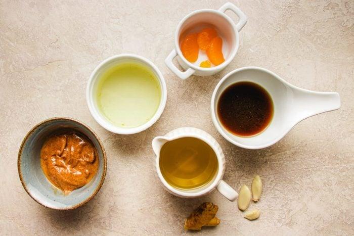 Ingredients to make Paleo complaint peanut-free Peanut flavored salad dressing