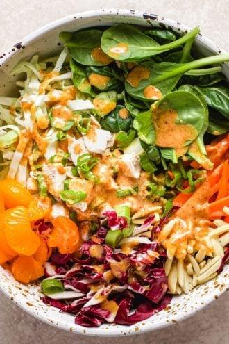 A close shot showing ingredients inside of Mandarin chicken salad bowl