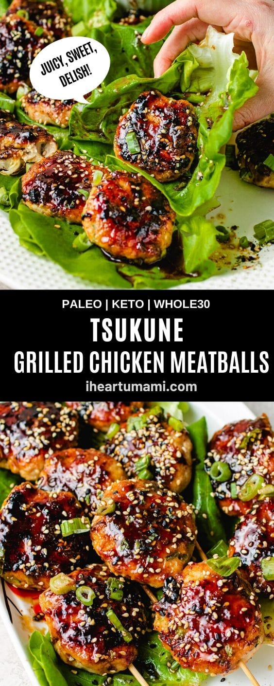 This is a pinterest pin image for pinning the Tsukune recipe to pin boards