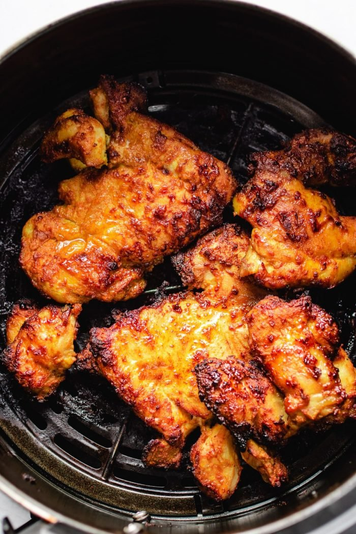 Photo shows chicken thighs after air fried