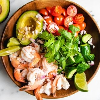 A horizontal photo of the keto avocado salad with shrimp