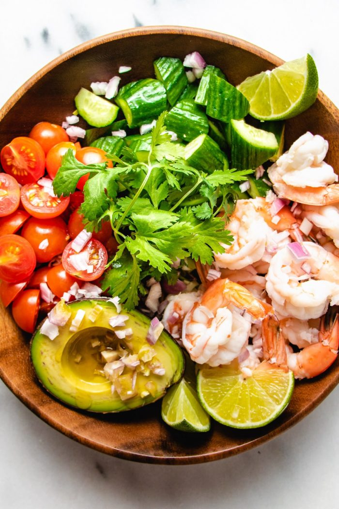 A photo of the keto salad shrimp avocado recipe